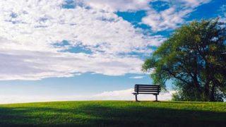 アウトドアでベンチ、背もたれ付きのベンチでゆったり過ごす